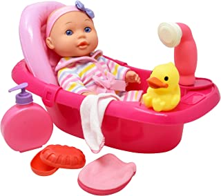 Baby Doll Bathtub Set, 12 Inch Vinyl Doll with Bathtime Accessories, Bath Tub, Shower Sprays Water, Washcloth, Toy Soap and Shower Gel, Rubber Duck, Babydoll Bath Toy Play Set for Kids and Toddlers