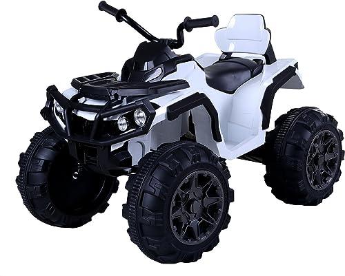 precios mas bajos RIRICAR Quad Hero 12V, blanco, Ruedas EVA EVA EVA Blandas, Control Remoto 2,4 GHz, Asiento de Cuero, suspensiones, batería 12V7Ah  ventas en linea
