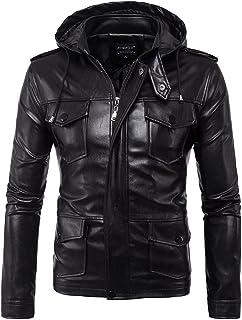 WSLCN Jaqueta masculina vintage de couro PU Zippé jaqueta motociclista masculina jaqueta com capuz corta-vento casaco com ...