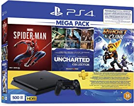 Sony PlayStation 4 Slim 500 GB Console Mega Bundle with 3 Games: Ratchet & Clank, Spiderman, Uncharted Collection with 3 M...