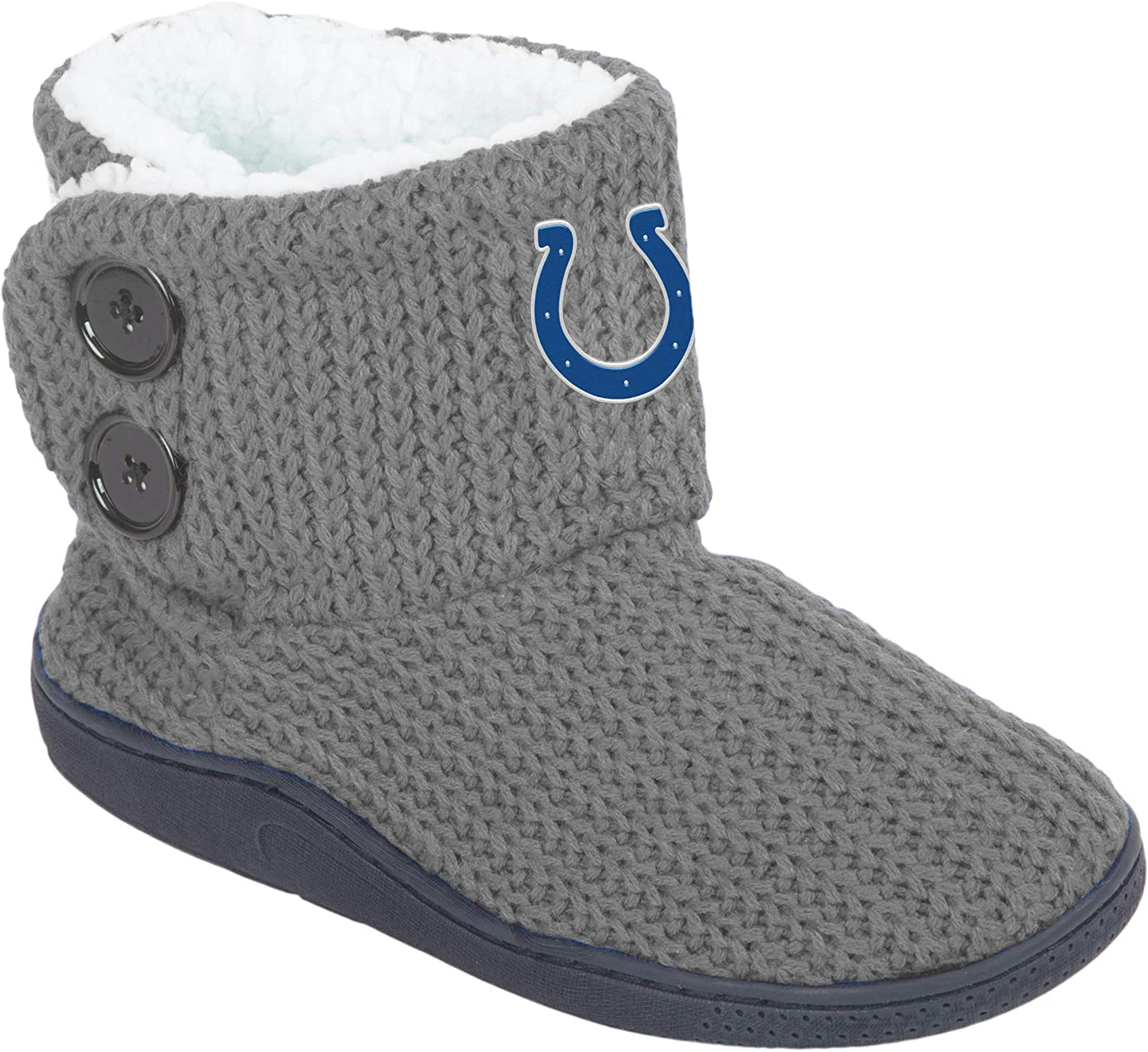 (Indianapolis Colts, Medium   7-8, Team color) - FOCO NFL Womens Knit 2 Button Boot
