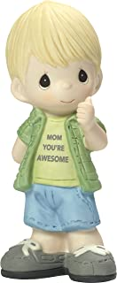 Precious Moments My Mom's Awesome Boy with Thumbs Up Bisque Porcelain Home Decor Collectible Figurine 173004