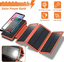 Solar Charger 20000mAh, 4.5W Qi Wireless Charger Portable Power Bank External Battery Pack with 3 Solar Panels, Flashlight, Dual 5V/2.1A USB Port, IP65 Rainproof for Camping Hiking Fishing(Orange)