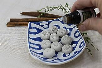 Diffusore di oli essenziali in ceramica handmade dipinto a mano colore bianco e blu