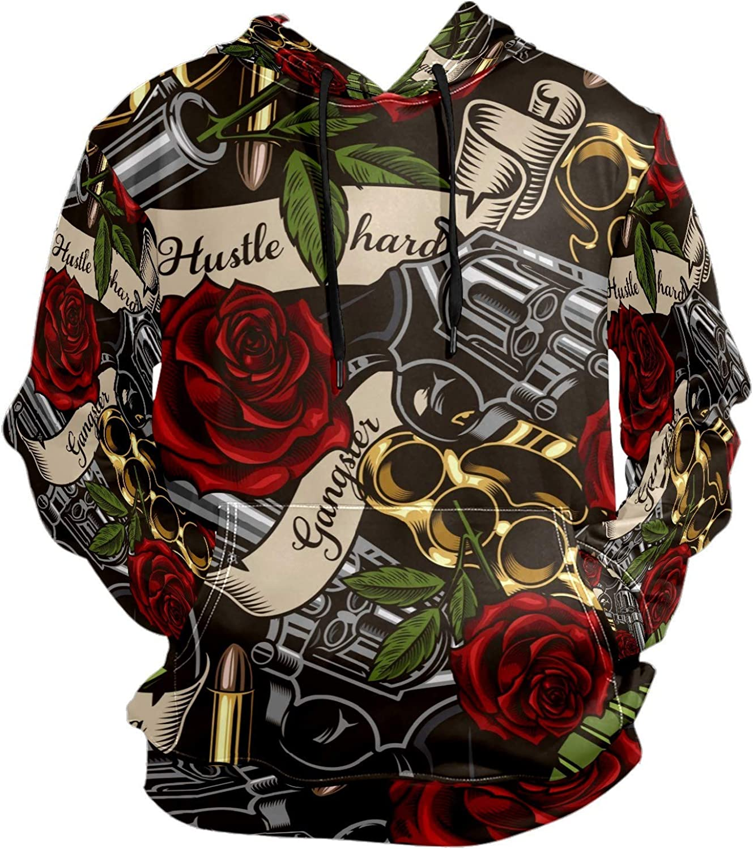 Gun Tattoo Roses Hustle Hard Grenade Mens Sport Hoodie Big and Tall Hoodies for Men Women Oversized Hooded Sweatshirt Hip Hop Pullover Hoodie Midweight Hood for Boys Girls
