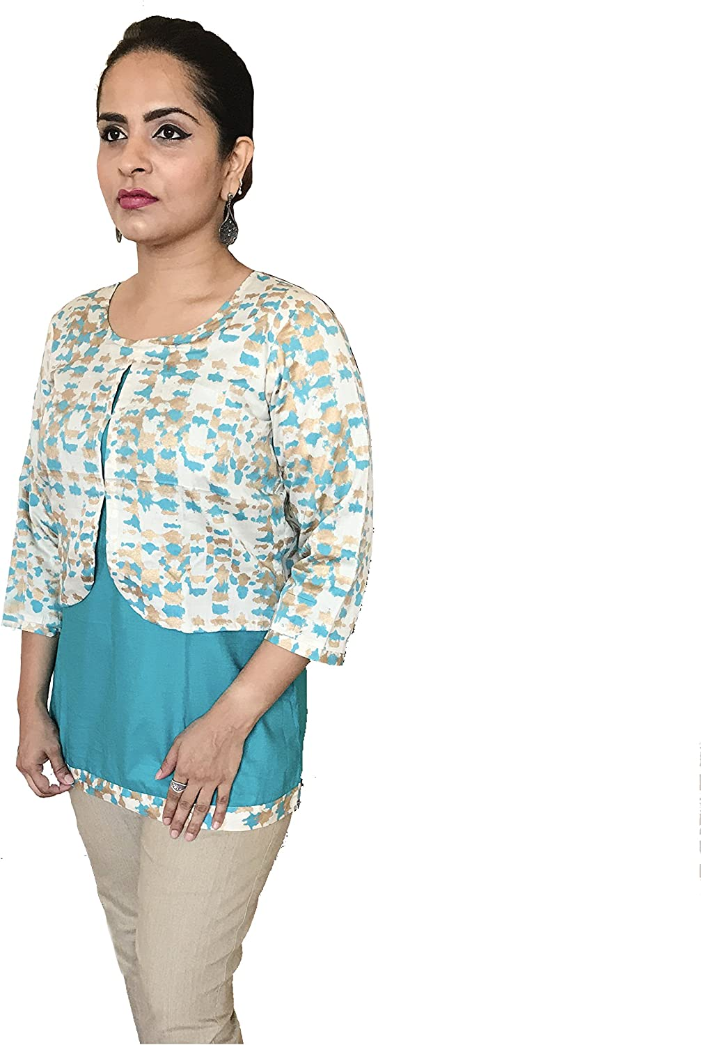 Designer Green colord Reversible Plain and Beige Printed Jacket Style Top.