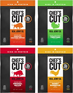 Chef's Cut Real Beef, Chicken, and Turkey Jerky Variety Pack - Premium Cuts, Gluten & Nitrite Free - Paleo Friendly, 2.5 Ounce (Pack of 4)