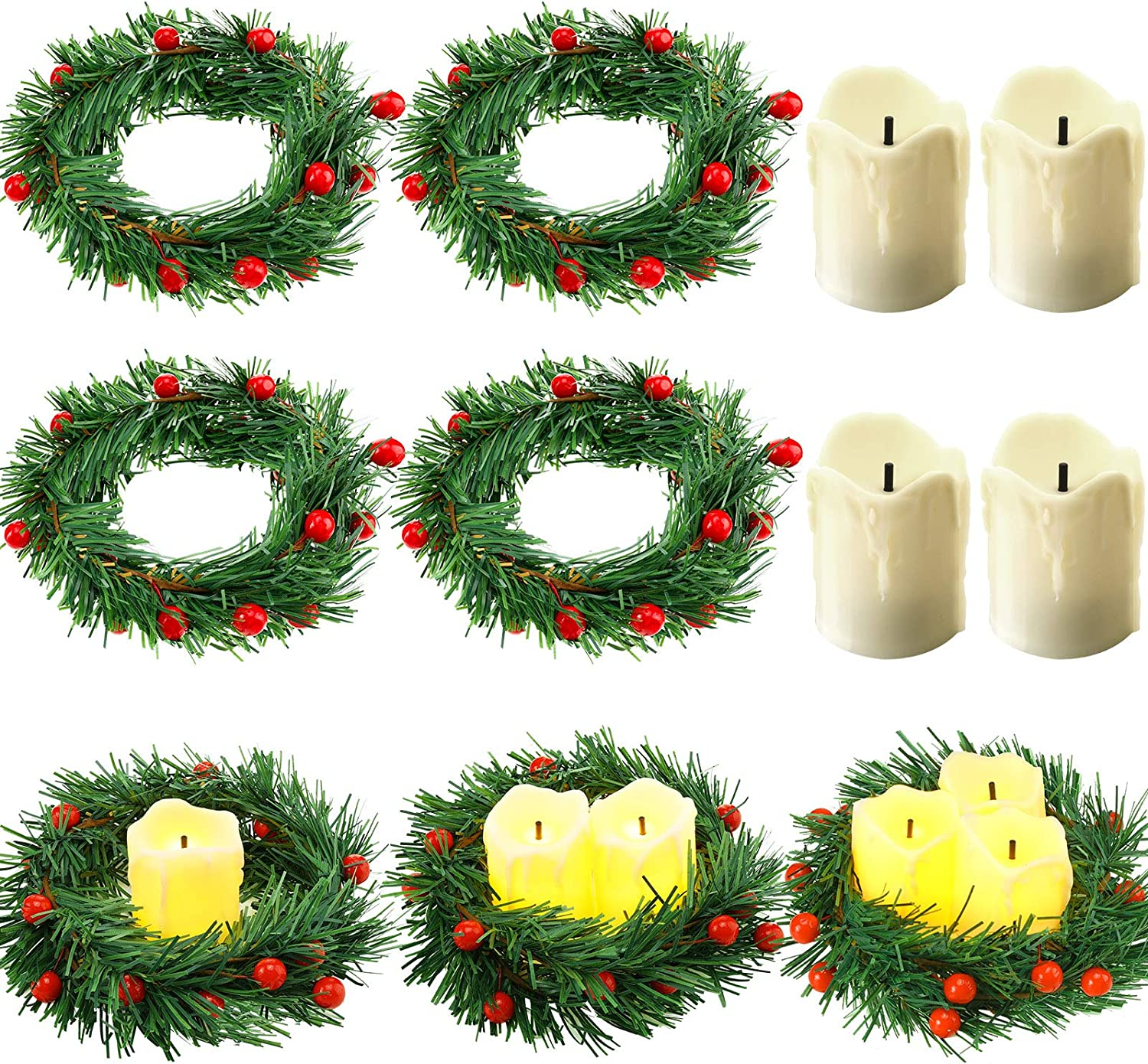 8 Pieces Christmas Candle Rings Set, Including 4 Pieces Artifici