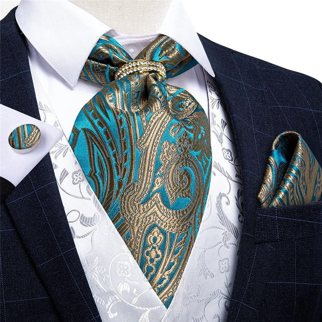 EEKLSJ Men Vintage Teal Blue Gold Formal Tie Self British Style Gentleman Silk Cravat Necktie Set Hanky Tie Ring (Color : Teal Blue, Size : One Size)
