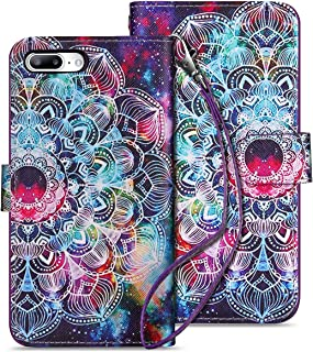 HianDier Case for iPhone 8 Plus Wallet Cases with Card Holder 9 Slots Detachable PU Leather Flip Cover Shockproof Magnetic Clasp Lanyard Dual Layer Wallet Case for iPhone 7 Plus 8 Plus, Mandala