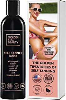 Self Tanner - Tanning Lotion w/ Organic & Natural Ingredients, Sunless Tanning Lotion for Flawless Light to Medium Tan, Se...