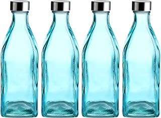 Whole Housewares 34 Oz Glass Square Water Bottles for Beverages and Juicer Use Stainless Steel Leak Proof Caps 4 Pack