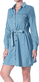 French Connection Womens Avery Denim Belted Shirt Dress in Bleach.