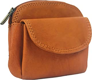 Texan Bull Women's Genuine Leather Coin Purse Mini Pouch Change Wallet with Key Ring
