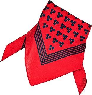 Red With Navy Blue 3-Dot & Stripes Bandana Neckerchief