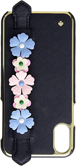 Floral Hand Strap Stand Phone Case for iPhone X