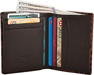Nappa Leather Slim RFID Blocking Multi Slot Card Wallet/Passcase for Men - Croco Brown Embossed