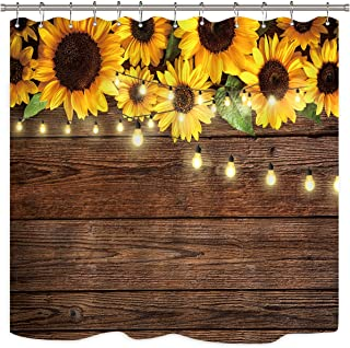 Riyidecor Rustic Sunflowers Wooden Board Light Shower Curtain Brown Yellow Country Spring Flowers Vintage Plant Kids Decor Fabric Nature Bathroom Polyester 72x72 Inch Include Plastic 12 Pack Hooks