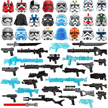 Goshfun 52Pcs Sci-fi Style Figure Weapon Armor Helmet Masks Set Small Particle Building Block Toy Kit Compatible with Mainstream Brand
