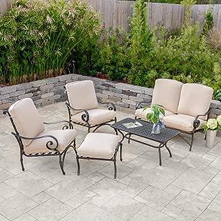 Lakeview Outdoor Designs Elysian 5 Piece Aluminum Patio Conversation Set W/Sunbrella Canvas Antique Beige Cushions