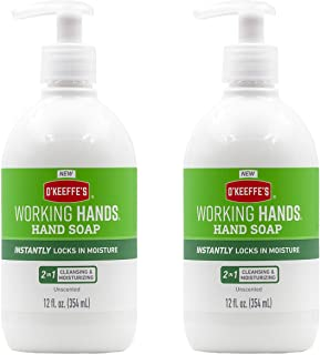 O'Keeffe's, Working Hands Moisturizing Hand Soap 12 ounce White, Unscented, 24 Fl Oz, (Pack of 2)