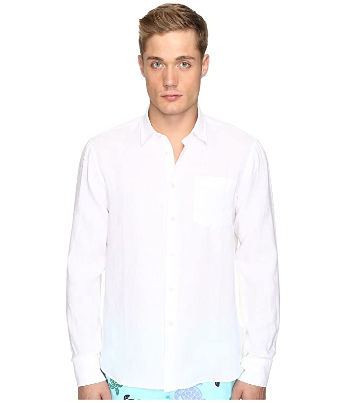 Vilebrequin Linen Long Sleeve Button Up (White) Men