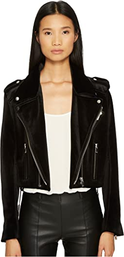 Velvet Biker Jacket with Upturned Collar