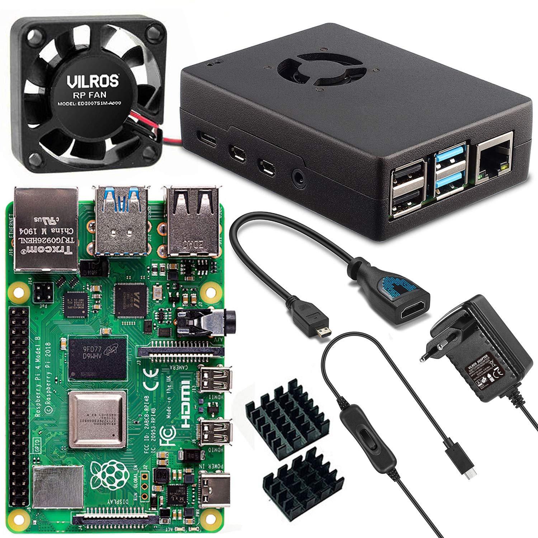 Vilros Raspberry Pi 4 Model B Basic Starter Kit con Carcasa de Metal con Ventilador – Contenido: Raspberry Pi 4 ...