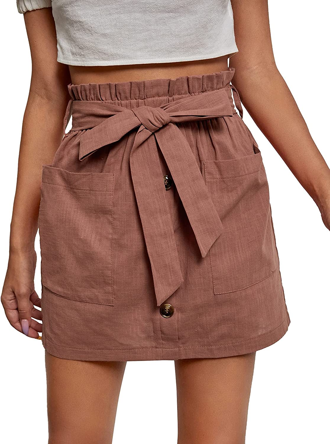 Milumia Women's Paperbag Waist Button Front Work Belted Short Skirt with Pockets