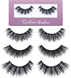 Cuckoo False Lashes 3D Faux Mink Eyelashes Korean PBT Fiber Silk False Eyelashes 3 Pairs per Set Multipack Package for Daily Makeup