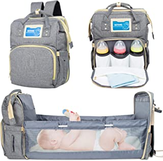 Diaper Bag Backpack with Auto Folding Crib, Portable Sleeping Mummy Bag Include Insulated Pocket, Multi-Functional Baby Ba...