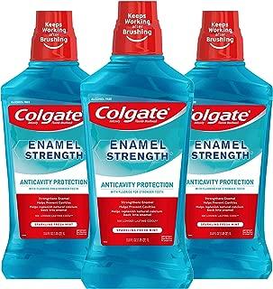 Colgate Enamel Strength Alcohol Free Mouthwash, Fresh Mint - 1L, 33.8 fluid ounce (3 Pack)