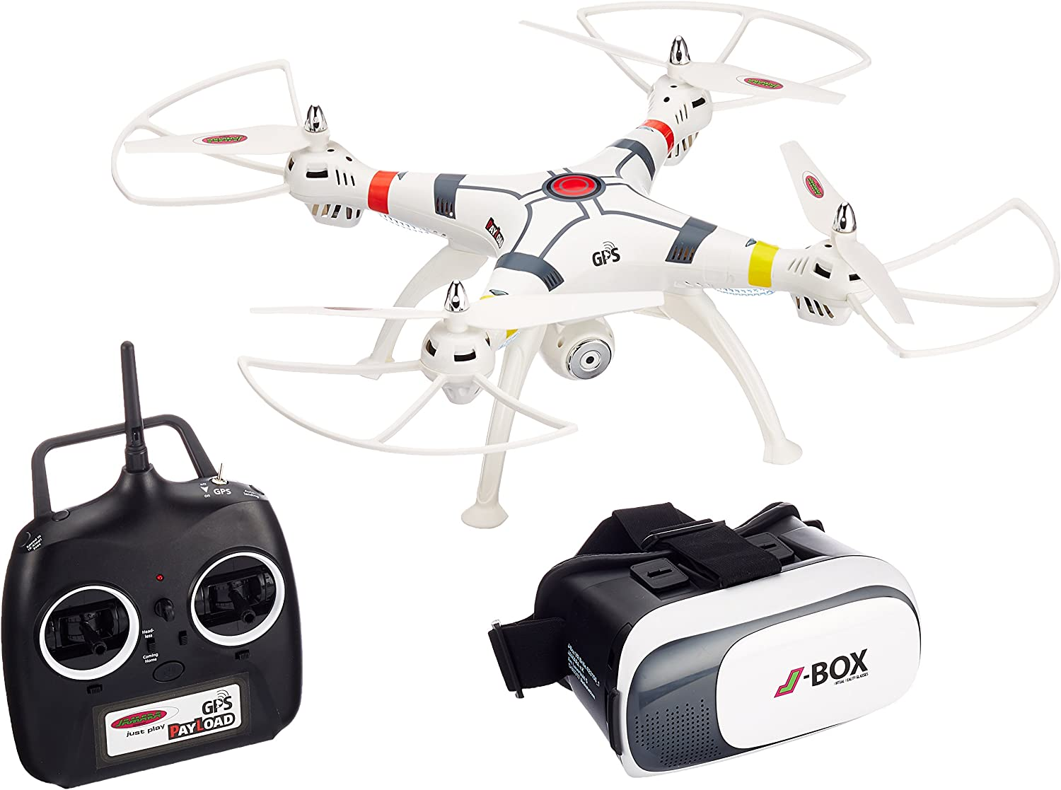 Jamara 422035 - Payload GPS VR Drone Altitude HD FPV Wifi ComingHome – Position Hold via GPS, auto. Start-  und Landefunktion, Hhenkontrolle, Track following -Flugbahn-Planung-Modus,Zuladung bis 350g
