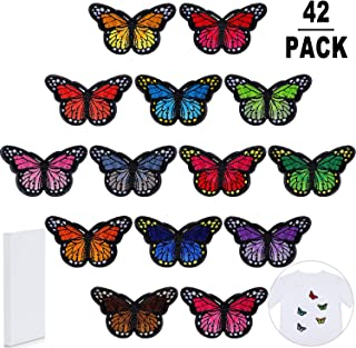 42 Pieces Butterfly Patches Embroidery Applique Patches Sew and Iron Patches for Arts Crafts DIY Decoration T-Shirt Jacket Shoes Bags Repair Patch,14 Colors