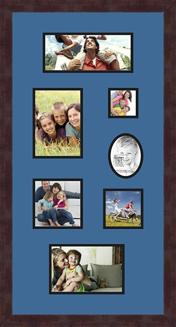 Art to Frames Double-Multimat-748-817/89-FRBW26061 Collage Frame Photo Mat Double Mat with 1-4x9, 5x7, 3x3, 5x5, 4x4, 5x7.5 and 3.5x4.5 Openings and Espresso Frame