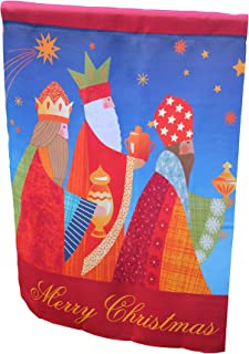 Lantern Hill Nativity House Flag for Christmas; Double Sided Reads Correctly Both Sides; 28 inches by 40 inches; Christian Catholic Outdoor Religious Flag; Three Wise Men Decoration