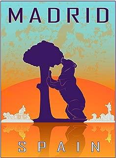 Travel Tourism Madrid Spain Bear Madrono Tree City Symbol Vector Poster Print