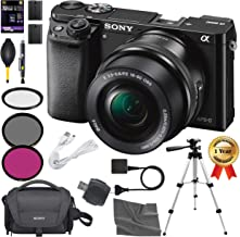 Sony Alpha a6000 Mirrorless Digital Camera with 16-50mm Lens and Accessory Kit (Black) + AOM 32GB Starter Bundle