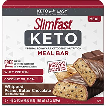 SlimFast Keto Meal Replacement Bar, Whipped Peanut Butter Chocolate, 5 Count per pack, 7.4 Ounce