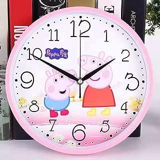 Filota Non-Ticking 100% Quiet Clock - for Kid's Room, Bedroom, Living Room, Kitchen, Restroom, Preschool Classroom, Daycare Classroom (Pink Peppa Pig)