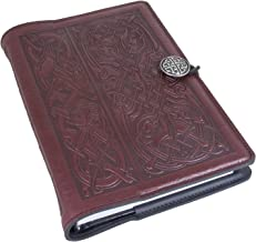 Genuine Leather Refillable Journal Cover with a Hardbound Blank Insert, 6x9 Inches, Celtic Hounds, Wine Color with a Pewter Button, Made in the USA by Oberon Design