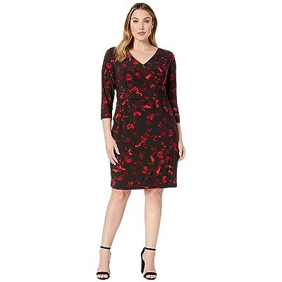 LAUREN Ralph Lauren Plus Size Bethy B759 Bellaire Floral Day Dress (Black/Red/Multi) Women