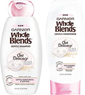 Garnier Whole Blends - Oat Delicacy - With Natural Extracts - Gentle Shampoo & Conditioner Set - Net Wt. 12.5 FL OZ (370 mL) Per Bottle - One Set