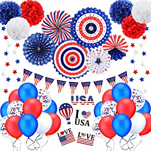 4th of July Patriotic Party Decorations Set, Independence Day Decor Party Supplies, Red White Blue Paper Fans, Balloons, Star Streamer, Pom Poms, USA Flag Pennant Bunting, Memorial Day, Veterans Day