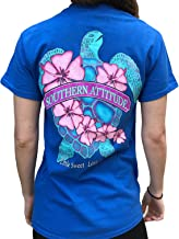 Southern Attitude Flower Turtle Royal Blue Short Sleeve T-Shirt
