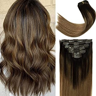 Lacer Balayage Darkest Brown #2 Fading to Chestnut Brown #6 Clip in Hair Extensions Human Hair Straight 120g Thick Natural...