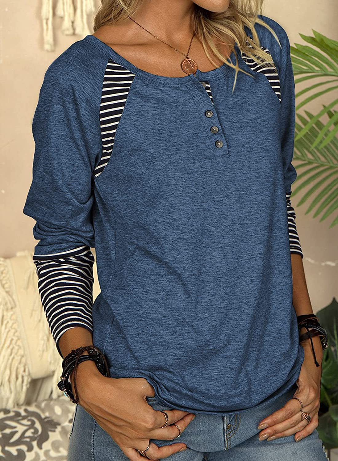 Happy Sailed Womens Henley Shirts Casual Long Sleeve Round Neck Button Down Striped Fall Blouse Tops(S-XXL)
