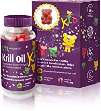 LYL Krill Oil Kid Gummy Bears with Vitamin D 3, Vitamin E and Vitamin A - phospholipid-Bound Omega 3 for Healthy Growth & ...