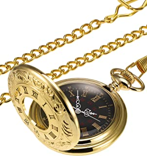 Hicarer Vintage Pocket Watch Steel Men Watch with Chain (Gold)
