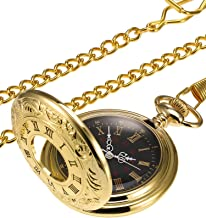 Hicarer Vintage Pocket Watch Steel Men Watch with Chain